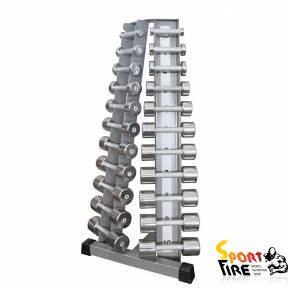 Стойка с набором гантелей хромированных (0,5 - 10 кг)  BT410.1 - 1672